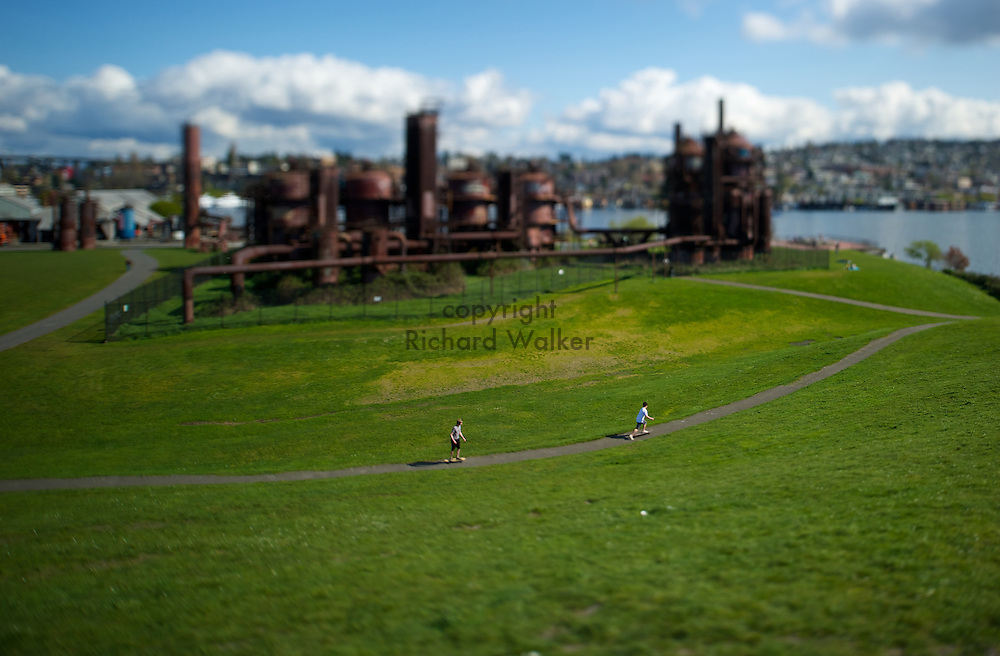 2010 March 22 - People enjoy a sunny day at Gasworks Park in Seattle, WA. Photographed with a tilt-shift lens. Photo by Richard Walker