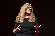 Barbara J. King speaks at TED2019: Bigger Than Us. April 15 - 19, 2019, Vancouver, BC, Canada. Photo: Bret Hartman / TED
