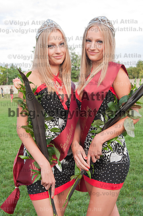 Agnes and Lucia Teglas wre choosen as winners of the Queens of Twins beauty contest organized as part of the 12th Twin Festival held 7th time in Szigehalom (about 15 km from Budapest), Hungary on July 23, 2011. ATTILA VOLGYI