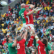 """Alun Wyn Jones, Wales, wins a line out from Paul O""""Connell, Ireland, during the Ireland V Wales Quarter Final match at the IRB Rugby World Cup tournament. Wellington Regional Stadium, Wellington, New Zealand, 8th October 2011. Photo Tim Clayton..."""