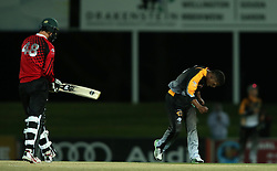Ferisco Adams of Boland celebrates bowling Colin Ackermann of Eastern Province during the Africa T20 cup pool D match between Boland and Eastern Province held at the Boland Park cricket ground in Paarl on the 24th September 2016.<br /> <br /> Photo by: Shaun Roy/ RealTime Images