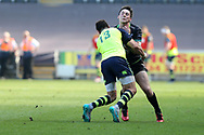 Sam Davies of the Ospreys © is stopped by Zane Kirchner of Leinster. Guinness Pro12 rugby match, Ospreys v Leinster Rugby at the Liberty Stadium in Swansea, South Wales on Saturday 8th April 2017. <br /> pic by Andrew Orchard, Andrew Orchard sports photography.
