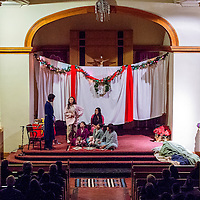 """121313       Cable Hoover<br /> <br /> The St. Michaels High School drama club performs the play """"A Visit From St. Nicholas"""" in the school chapel Friday in St. Michaels."""