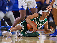 UAB Blazers guard Jalen Benjamin (13) falls to the court during the UAB Blazers at Middle Tennessee Blue Raiders college basketball game in Murfreesboro, Tennessee, Saturday, February, 15, 2020. Middle lost 79-66.<br /> Photo: Harrison McClary/All Tenn Sports