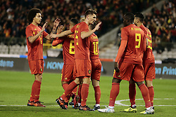 November 10, 2017 - Bruxelles, Belgique - Thomas Meunier defender of Belgium celebrates that Eden Hazard midfielder of Belgium scores the opening goa (Credit Image: © Panoramic via ZUMA Press)