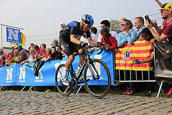 Dylan Van Baarle (NED) Team Sky climbs the Paterberg for the last time during the 2019 Ronde Van Vlaanderen 270km from Antwerp to Oudenaarde, Belgium. 7th April 2019.<br /> Picture: Eoin Clarke | Cyclefile<br /> <br /> All photos usage must carry mandatory copyright credit (© Cyclefile | Eoin Clarke)