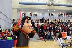 The Bristol Flyers mascot celebrates  - Mandatory byline: Dougie Allward/JMP - 07966 386802 - 10/09/2015 - BASKETBALL - SGS Wise Arena - Bristol, England - Bristol Flyers v USA Select.