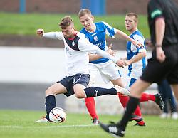 Falkirk's Rory Loy and Cowdenbeath's Thomas O'Brien.<br /> Half time; Cowdenbeath v Falkirk, 14/9/2013.<br /> ©Michael Schofield.