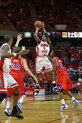 24 March 2008: Osiris Eldridge shoots the three from the top of the key with Landon Warren closing in. The Flyers of Dayton defeated the Redbirds of Illinois State 55-48 on Doug Collins Court inside Redbird Arena in Normal Illinois.