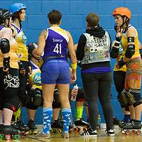 Sheffield Steel Rollergirls take on Bath Roller Derby Girls at the British Champs Playoffs 2017, Fenton Manor, Stoke-on-Trent, 2017-09-16