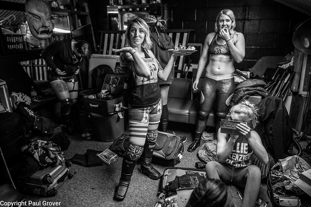 Pic Shows Women Wrestlers performing at the EVE event at the Resistance Gallery in Bethnal Green