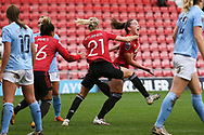 Goal 2-2 Manchester United midfielder Kirsty Hanson (18) scores a goal 2-2 and celebrates  during the FA Women's Super League match between Manchester United Women and Manchester City Women at Leigh Sports Village, Leigh, United Kingdom on 14 November 2020.