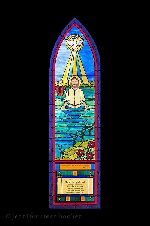 'Baptism' window (Robert, Hope, and Joseph Sivret memorial window), artist and date unknown. St. Matthew and Barnabas, Hallowell, Maine.