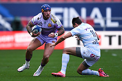 Jack Nowell of Exeter Chiefs is challenged by Juan Imhoff of Racing 92 - Mandatory by-line: Ryan Hiscott/JMP - 17/10/2020 - RUGBY - Ashton Gate Stadium - Bristol, England - Exeter Chiefs v Racing 92 - Heineken Champions Cup Final