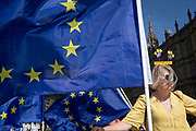 A day after British Prime Minister Boris Johnson successfully asked the Queen to suspend prorogue Parliament in order to manoeuvre his Brexit deal with the EU in Brussels, a Remain protester stands with flags and banners while lunchtime TV interviews are filmed by broadcasters on College Green, on 29th August 2019, in Westminster, London, England.