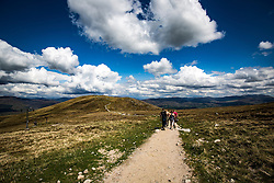 heading towards Sgurr Finnisg-aig, on the slopes of Aonach Mor, after using the Nevis Range mountain gondola, which transports visitors effortlessly from 300ft up to 2150ft on the north face of Aonach Mor, the eighth highest mountain in Britain.