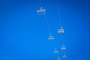 Empty ski lifts at La Mongie ski resort,  Bagnères-de-Bigorre, France.