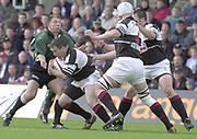 Sport - Rugby 27/04/2002 Parker Pen Shield - Semi-Final<br />London Irish vs Pontypridd - Kassam Stadium - Oxford<br />Justin Bishop, holds up Ceri Sweeney