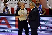 DESCRIZIONE : Pistoia Lega A 2014-2015 Giorgio Tesi Group Pistoia Banco di Sardegna Sassari<br /> GIOCATORE : Romeo Sacchetti Luigi Lamonica Arbitro<br /> CATEGORIA : Arbitro fairplay<br /> SQUADRA : Banco di Sardegna Sassari Arbitro<br /> EVENTO : Campionato Lega A 2014-2015<br /> GARA : Giorgio Tesi Group Pistoia Banco di Sardegna Sassari<br /> DATA : 20/10/2014<br /> SPORT : Pallacanestro<br /> AUTORE : Agenzia Ciamillo-Castoria/GiulioCiamillo<br /> GALLERIA : Lega Basket A 2014-2015<br /> FOTONOTIZIA : Pistoia Lega A 2014-2015 Giorgio Tesi Group Pistoia Banco di Sardegna Sassari<br /> PREDEFINITA :