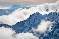 Swift Creek Valley in winter, seen from Artist Point. White Horse and Three Fingers Mountains are in the distance. North Cascades Washington