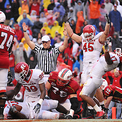 Sep 26, 2009; College Park, MD, USA; Rutgers defensive end Alex Silvestro (45) and linebacker Damaso Munoz (17) celebrate their defensive touchdown while defensive end Jonathan Freeny (99) tends to the injured defensive end George Johnson (31) after Johnson recovered the ball to score during the second half of Rutgers' 34-13 victory over Maryland in NCAA college football at Byrd Stadium.