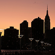 Manhattan, New York City Skyline as seen from Gantry Plaza State Park in Long Island CIty