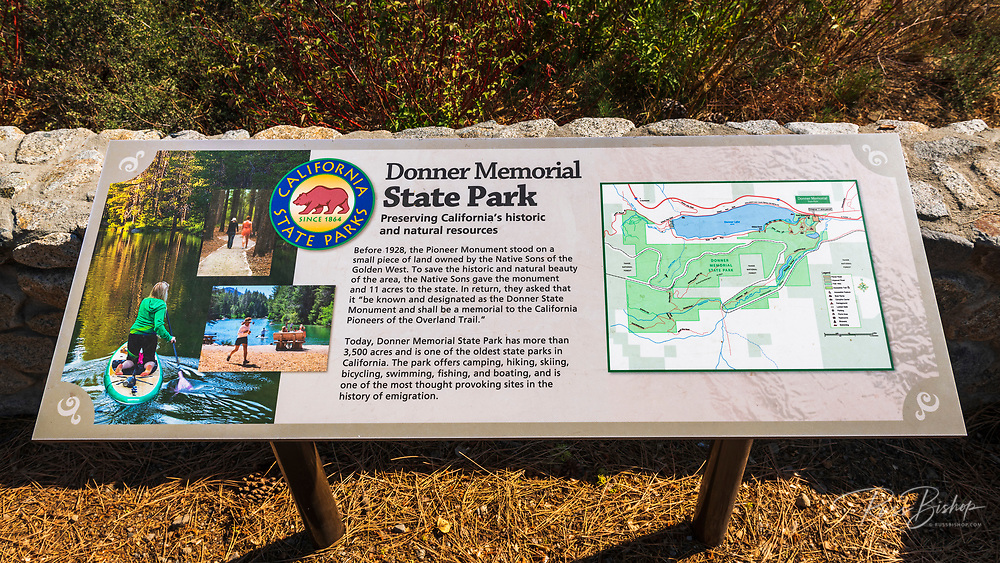 Interpretive sign at Donner Memorial State Park, Truckee, California USA