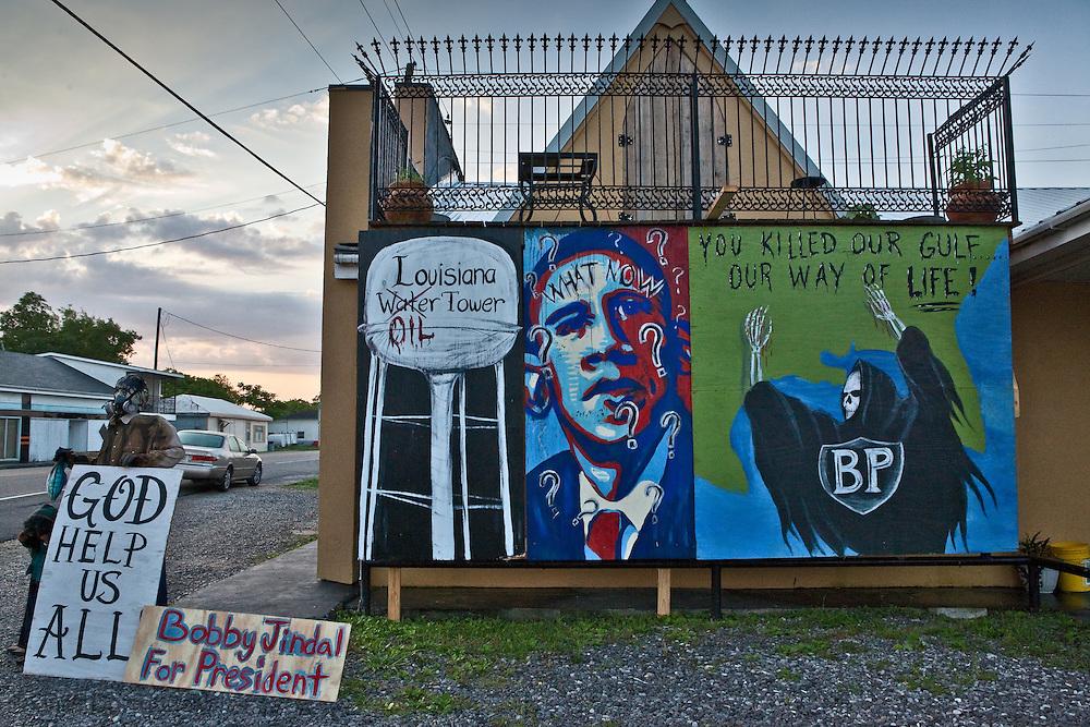 Anti BP mural  against BP along US Route 1 In Larose,  Louisiana.