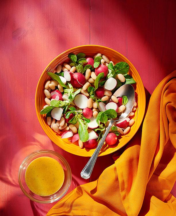 Radish And Bean Summer Salad with Honey and Mustard Dressing