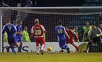 Photo: Alan Crowhurst.<br />Gillingham v Swindon Town. Coca Cola League 1. 14/01/2006. <br />Michael Flynn (10) scores Gills' second goal.