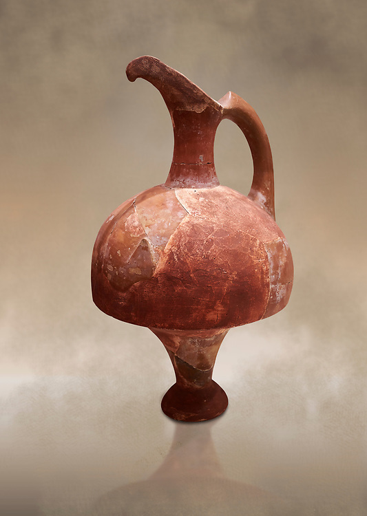 Hittite terra cotta red glazed beak spout pitcher . Hittite Period, 1600 - 1200 BC.  Hattusa Boğazkale. Çorum Archaeological Museum, Corum, Turkey. Against a warm art bacground. .<br />  <br /> If you prefer to buy from our ALAMY STOCK LIBRARY page at https://www.alamy.com/portfolio/paul-williams-funkystock/hittite-art-antiquities.html  - Type Hattusa into the LOWER SEARCH WITHIN GALLERY box. Refine search by adding background colour, place,etc<br /> <br /> Visit our HITTITE PHOTO COLLECTIONS for more photos to download or buy as wall art prints https://funkystock.photoshelter.com/gallery-collection/The-Hittites-Art-Artefacts-Antiquities-Historic-Sites-Pictures-Images-of/C0000NUBSMhSc3Oo