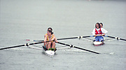 Tampere Kaukajaervi,  FINLAND.   Women's Pair, left, AUS W2- Kate SLATTER and Meagan STILL, right, France FRA W2- Celine CUISANT-GARCIA  and Christine GOSSE, move away from the awards dock, 1995 World Rowing Championships - Lake Tampere, 08.1995<br /> <br /> [Mandatory Credit; Peter Spurrier/Intersport-images] Re-Edited and file ref No. updated, 16th January 2021.