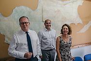 EUROPE, Cyprus, Nicosia. Paul-Henri Arni, left,  Third Member of UNFICYP with his Committee for Missing Persons in Cyprus colleagues. Turkish Cypriot Member Gülden Plümer Küçük, right, and Greek Cypriot Member Nestoras Nestoros, centre.
