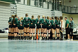 22 September 2015:  Titan team huddle during an NCAA womens division 3 Volleyball match between the Augustana Vikings and the Illinois Wesleyan Titans in Shirk Center, Bloomington IL
