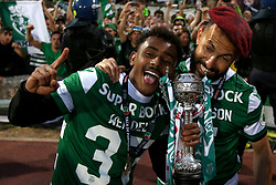 May 25, 2019 - Oeiras, Portugal - OEIRAS, PORTUGAL - MAY 25: Sporting's midfielder Wendel from Brazil and defender Jefferson from Brazil celebrate with their trophy after winning the Portugal Cup Final football match Sporting CP vs FC Porto at Jamor stadium, on May 25, 2019, in Oeiras, outskirts of Lisbon, Portugal. (Credit Image: © Pedro Fiuza/NurPhoto via ZUMA Press)