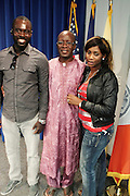 September 19, 2012- Queens, New York:  Former Prisoner Amadou Scattred Janneh and family poses for photograph as a free man after being held as a prisoner in the Gambia, West Africa. Former Prisoner Amadou Scattred Janneh, a former Professor at the University of Tennessee, who held dual US Citizenship with the Gambia, was serving a life sentence for Treason. In addition to him, Tamsir Jessah, a U.S Citizen and former U.S. Military Veteran with dual citizenship with the West African nation was also serving a twenty-year sentence for Treason. With a face-to-face appeal by Rev. Jesse L. Jackson, with the Yayha Jammeh, President of The Gambia an agreement was made to release the two American citizens into Rev. Jackson's custody who allow them to return to the United States with Jackson Tuesday night.  The two men returned to the U.S. by plane with Rev. Jackson from The Gambia to joyfully grateful waiting family members. In addition, President Jammeh has agreed to extend the moritorium on executions indefinitely, marking a significant gain for Human Rights in the West African Nation on September 19, 2012. (Terrence Jennings)