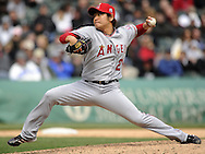 CHICAGO - APRIL 17:  Hisanori Takahashi #24 of the Los Angeles Angels pitches against the Chicago White Sox on April 17, 2011 at U.S. Cellular Field in Chicago, Illinois.  The Angels defeated the White Sox 4-2.  (Photo by Ron Vesely)  Subject:  Hisanori Takahashi