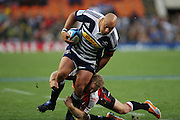 CJ van der Linde breaks through the defense during the Super Rugby (Super 15) fixture between the DHL Stormers and the Lions held at DHL Newlands Stadium in Cape Town, South Africa on 26 February 2011. Photo by Jacques Rossouw/SPORTZPICS