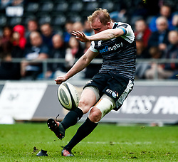 Luke Price of Ospreys kicks a penalty<br /> <br /> Photographer Simon King/Replay Images<br /> <br /> Guinness PRO14 Round 18 - Ospreys v Dragons - Saturday 23rd March 2019 - Liberty Stadium - Swansea<br /> <br /> World Copyright © Replay Images . All rights reserved. info@replayimages.co.uk - http://replayimages.co.uk