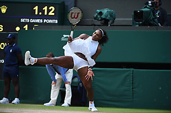 Serena Williams of USA plays her quarter final match at the 2016 Wimbledon Championships at the AELTC in London, UK, on July 5, 2016. Williams battered Anastasia Pavlyuchenkova 6-4 6-4 to join sister Venus in the semi-finals. Photo by Corinne Dubreuil/ABACAPRESS.COM