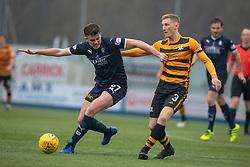 Falkirk's Mark Waddington and Alloa Athletic's Liam Dick. half time ; Falkirk 0 v 1 Alloa Athletic, Scottish Championship game played 6/4/2019 at The Falkirk Stadium.
