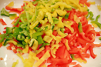 """Lenotre Ecole Culinaire, Paris,..short course - """"Return to the Market"""" with Chef Jacky Legras..peppers for sauce basquaise...photo by Owen Franken for the NY Times..July 12, 2007......."""
