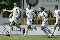 Fotball , 18 august 2007 , NM, cupen , Haugesund - Nybergsund<br /> Fra venstre Cameron Weaver, Jonas Johansen,<br /> Bjørn Strøm. Sistemann og Stian Johnsen.