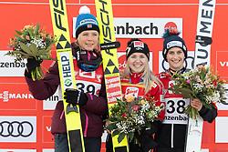 08.02.2020, Energie AG Skisprung Arena, Hinzenbach, AUT, FIS Weltcup Ski Sprung, Damen, Siegerehrung, im Bild Das Siegerpodest v.l. 2. Maren Lundby (NOR), Platz Siegerin Chiara Hoelzl (AUT), 3. Platz Eva Pinkelnig (AUT) // during the winner ceremony for the women's FIS Ski Jumping World Cup at the Energie AG Skisprung Arena in Hinzenbach, Austria on 2020/02/08. EXPA Pictures © 2020, PhotoCredit: EXPA/ Reinhard Eisenbauer