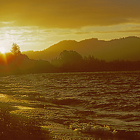 CHILE, Lakes District. Sunset over Lake Llanquihue