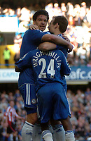 Photo: Tony Oudot.<br />Chelsea v Sheffield United. The Barclays Premiership. 17/03/2007.<br />Michael Ballack celebrates his goal for Chelsea with Shaun Wright Phillips and Arjen Robben