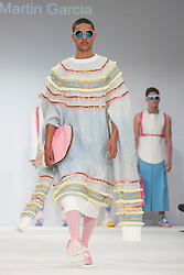 © Licensed to London News Pictures. 02/06/2015. London, UK. Collection by Nicolas Martin Garcia of Academia di Costume e Moda. Samsonite International Catwalk Competition takes place during Graduate Fashion Week 2015. Graduate Fashion Week takes place from 30 May to 2 June 2015 at the Old Truman Brewery, Brick Lane. Photo credit : Bettina Strenske/LNP