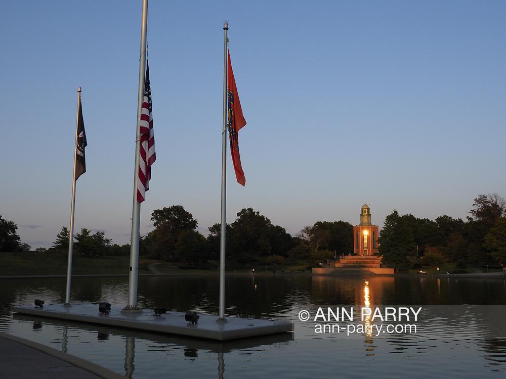 East Meadow, NY, USA. Sept. 10, 2017. Eisenhower Park pond area, with Nassau County Eisenhower Park September 11, 2001 Memorial on west side of pond and War Memorials on east side of pond.