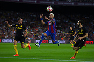 Neymar Jr jumps to control the ball during the La Liga match between Barcelona and Atletico Madrid at Camp Nou, Barcelona, Spain on 21 September 2016. Photo by Eric Alonso.