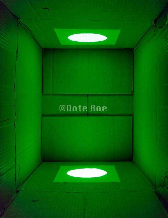 cardboard box with a monochrome green light shining in it